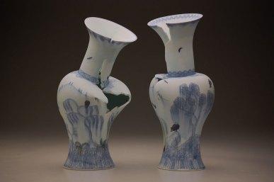"""10"""" x 11"""" x 23"""", each, porcelain, cobalt inlay, decals, 2013"""