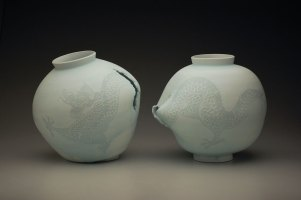 "15"" x 15"" x 15"" each, porcelain, white slip, 2013"