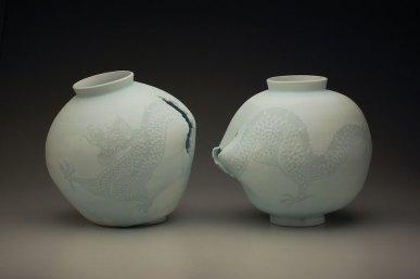"""15"""" x 15"""" x 15"""" each, porcelain, white slip, 2013"""