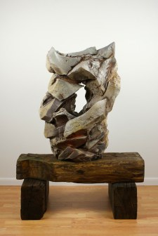 "64 x 48 x 20"", woodfired stoneware with natural ash glaze, oak hip rafter"