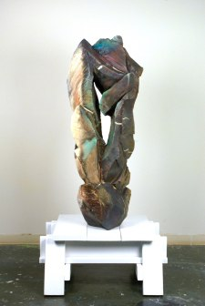 """75 x 33 x 33"""", woodfired stoneware with natural ash glaze, pine"""