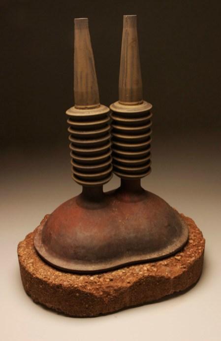 """32""""x18""""x 20"""", black clay, porcelain, concrete, 2012"""