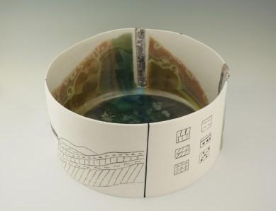 Crystalline and volcanic glazes, ceramic pencil, porcelain, cone 10.