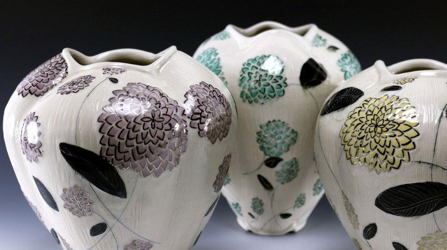 "Stephanie Wilhelm, ""Dahlia Pattern Vases"""