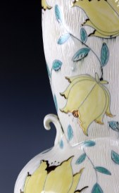 """Porcelain, cone 6, gold luster, 2019, Thrown and altered, inlay, handpainted, 7""""x16"""""""
