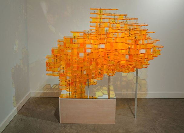 "51"" x 55"" x 39"", Materials: Laser cut acrylic, HO-scale figures, wood/mirror stand and hardware, 2009"