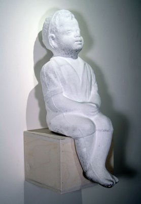 "18""h x 7""w x 11""d, powdered sugar on chocolate, 2007"