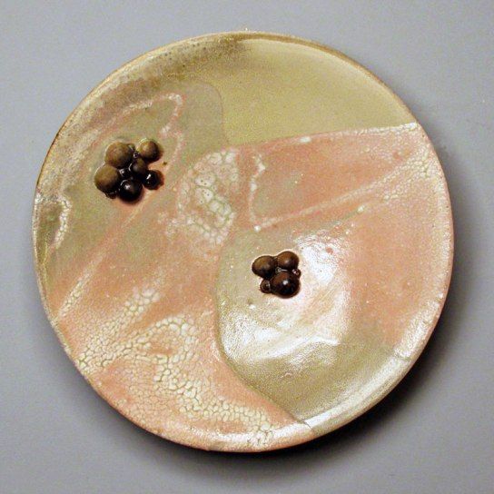 "Untitled Platter, 2014, glazed stoneware, wood-fired, 18""x18""x4"""