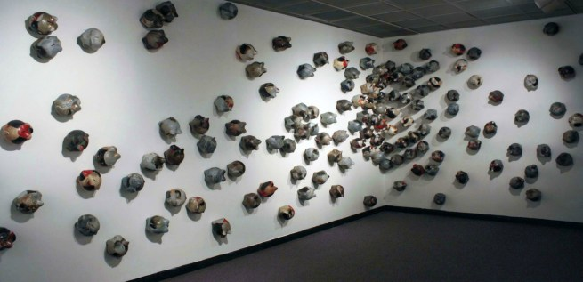 Wood-fired stoneware and porcelain, 35ft x 10ft x 10in, 2014