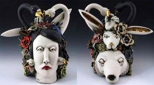 H25'' x W15'' x D18'', porcelain, cone 6 glazes, underglaze, luster, 2015