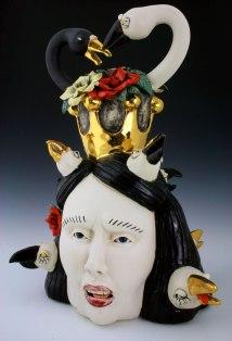 H22'' x W16'' x D 13'' porcelain, under glaze, glaze and luster, 2016