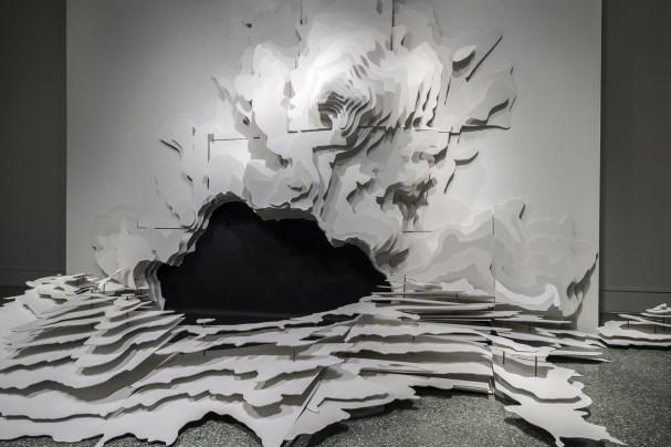 """96x135x86"""", Russian Baltic birch, steel, latex paint, paper, 2015"""