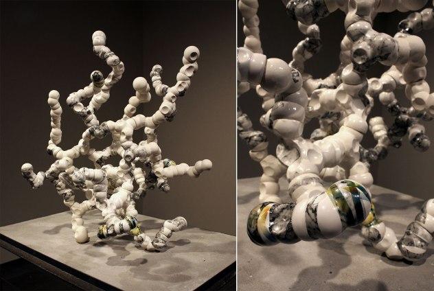 "cast porcelain, decals, 3D-printed connectors, threaded steel rod, 38 x 27 x 24"", 2017"