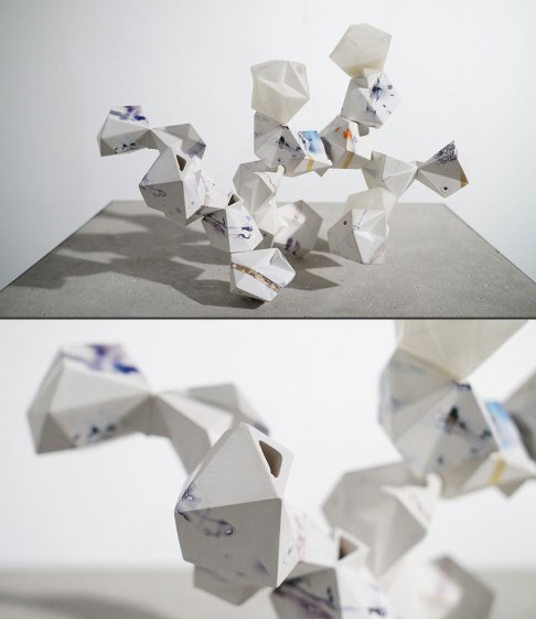 "cast porcelain, decals, 3D-printed connectors, threaded steel rod, 12 x 10 x 10"", 2016"