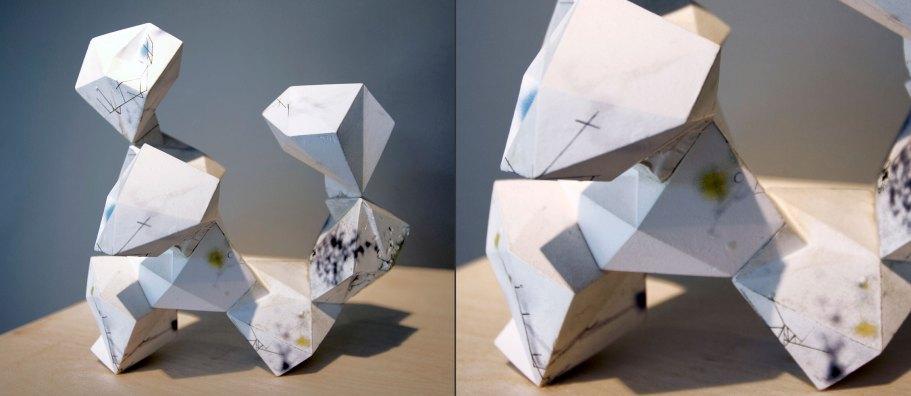 "cast porcelain, decals, 3D-printed connectors, threaded steel rod, 8 x 8 x 6"", 2012"