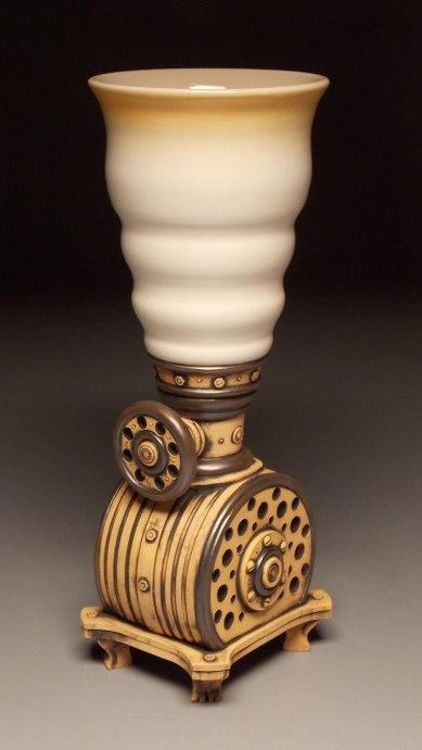 "Wheel thrown and hand built mid-range stoneware, terra sigillata, glaze, fired to Cone 6 oxidation. 10"" x 16"" x 8"". 2015"