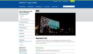 University of West Florida Art Department website screenshot