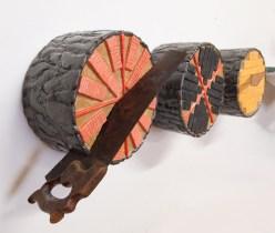 2017. Ceramic (earthenware, slip, terrasigillata, glaze), found saws. 28 x 33 x 15.25 cm, 30 x 30 x 16.5 cm, et 28.6 x 54.6 x 19 cm