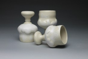 white stoneware, fired to cone 6 in an electric kiln