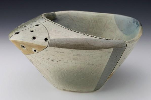 "Thrown and altered. Cone 5/6 white stoneware, underglaze, stain, glaze. 9.5"" x 8"" x 4.5"". 2018"