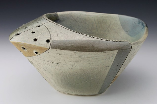 "Thrown and altered. Cone 5/6 white stoneware, underglaze, stain, glaze. 9.5"" x 8"" x 4.5"". 2018"