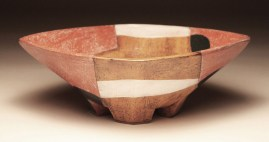 """Thrown and altered. Cone 0/4 oxidation. Red earthenware, slips, terra sig, stain, glaze. 13.5 x 11.5 x 4.5"""". 2013"""