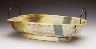 "Thrown and altered. Cone 5/6 white stoneware, underglaze, stain, glaze, copper, brass. 12 x 6 ½ x 3"". 2017"