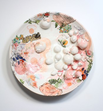 "2013, Porcelain with original silkscreened and vintage overglaze decals, Kutani raised enamels, gold, 18"" x 18"" x 6"""