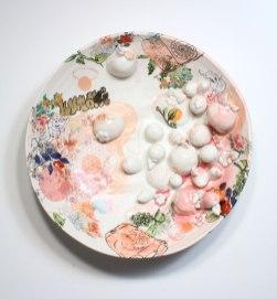 "2013, Porcelain with original silkscreened and vintage overglaze decals, Kutani raised enamels, gold, 18"" x 18"" x 6"""