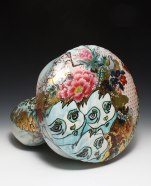 "2012, Porcelain with original silkscreened and vintage overglaze decals, Kutani raised enamels, gold, 11"" x 11"" x 13"""