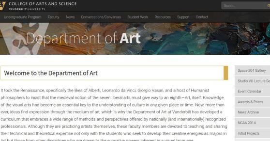 Vanderbilt University website screenshot