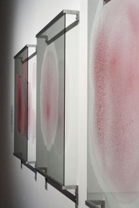 "2011, glass, aluminum, pigments, 36"" x 240"" x 3"""