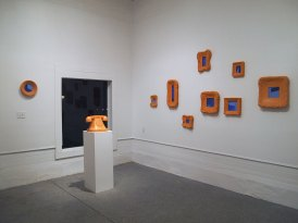 2016, mixed media: fired terra-cotta, terra-sigillata, wood, and vinyl paint, Gallery Shot