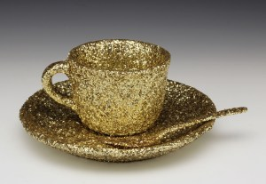 """Wesley Harvey, """"Meret Oppenheim's 'Object' reimagined by a homosexual, in gold"""""""