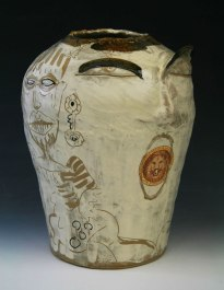 "8.7""w x15""h x8.5""d (inch), Stoneware clay, glazes, fired cone 8, decals, 2014"
