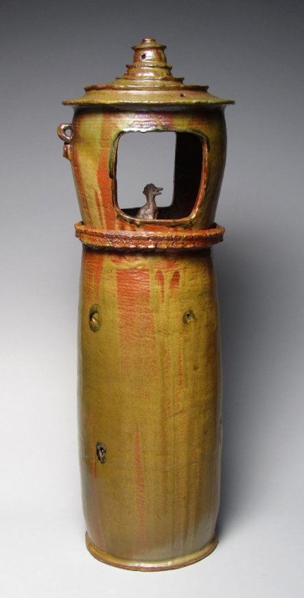 """8""""w x 32""""h x 8""""d (inch), Stoneware clay, glazes, fired cone 10, 2012"""
