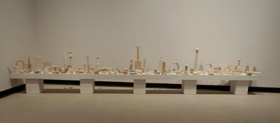 "Grey Alphabet, 2013, Glazed Earthenware, 44""x17""x20', Photo Credit : The Burlington Arts Centre"