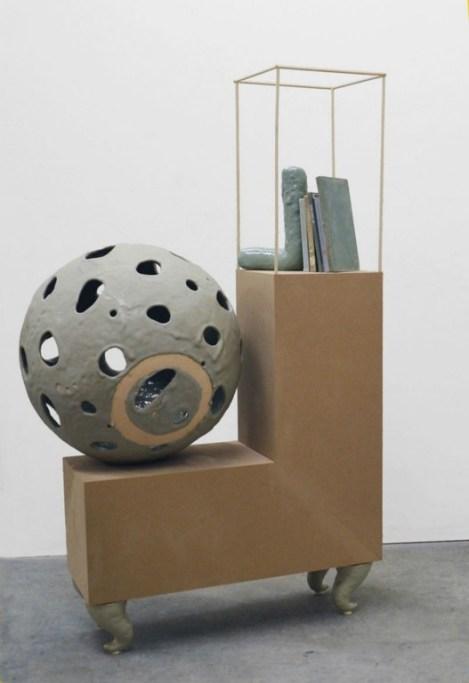 Bookends, 2013, Glazed Stoneware, MDF, Books