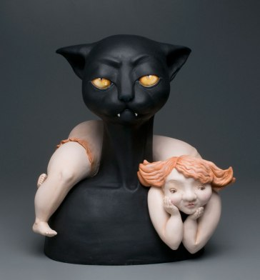 "Fired clay, paint. 19""x17""13"""