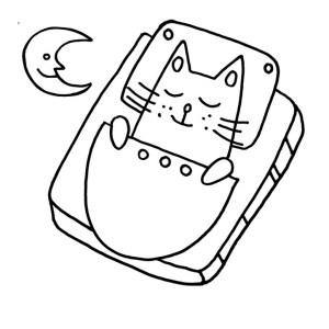 Спящий котик. Творческое развитие детей, домашнее обучение, Раскраска для детей. Анти стресс. Развитие мелкой моторики.