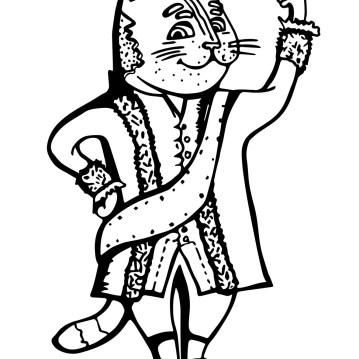 питерский кот раскраска, кот в старинном костюме, кот петровская эпоха, кот в камзоле раскраска