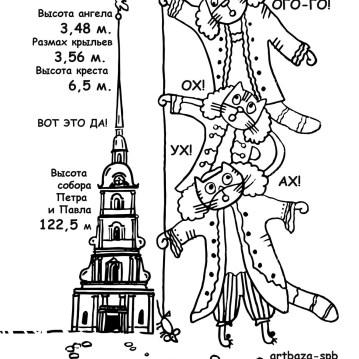 раскраска про петербург, раскраска питер, коты раскраска, петропавловка, петропавловский собор, заячий остров