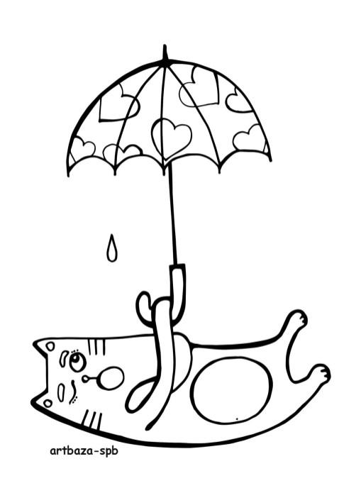 питерская погода, котики в петербурге, раскраска котик, кошачья раскраска, кот с сзонтиком