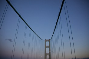 the Mackinaw Bridge seen from underneath