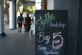 The welcoming sign outside Fables Bookshop.