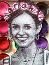 Sarah V. Sarah loves coffee, flowers and puddle-hopping. She believed her freckles were fairy dust until she was nine. Her wish is to find the words to heal the world, and until then she remains addicted to doodling.