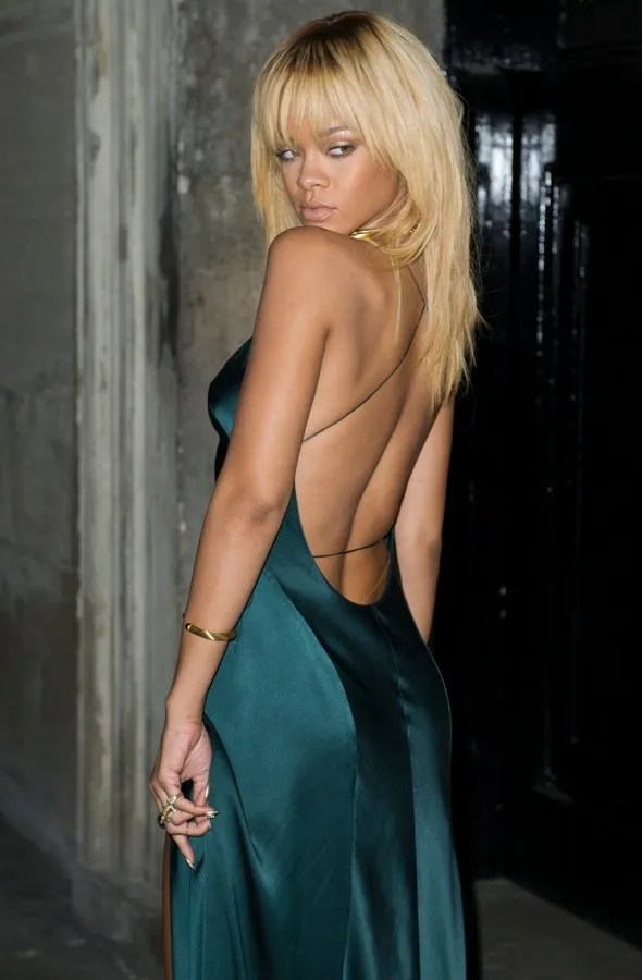 rihanna thigh high split dress teal dress