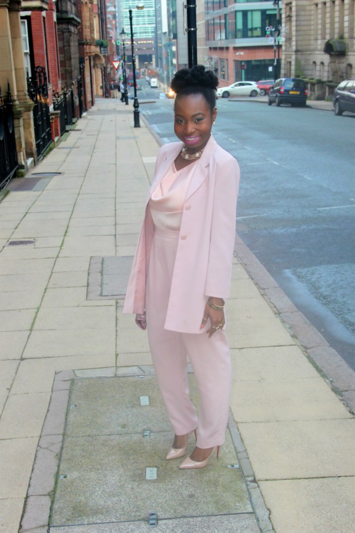 blush pink nude trouser suit 17 b