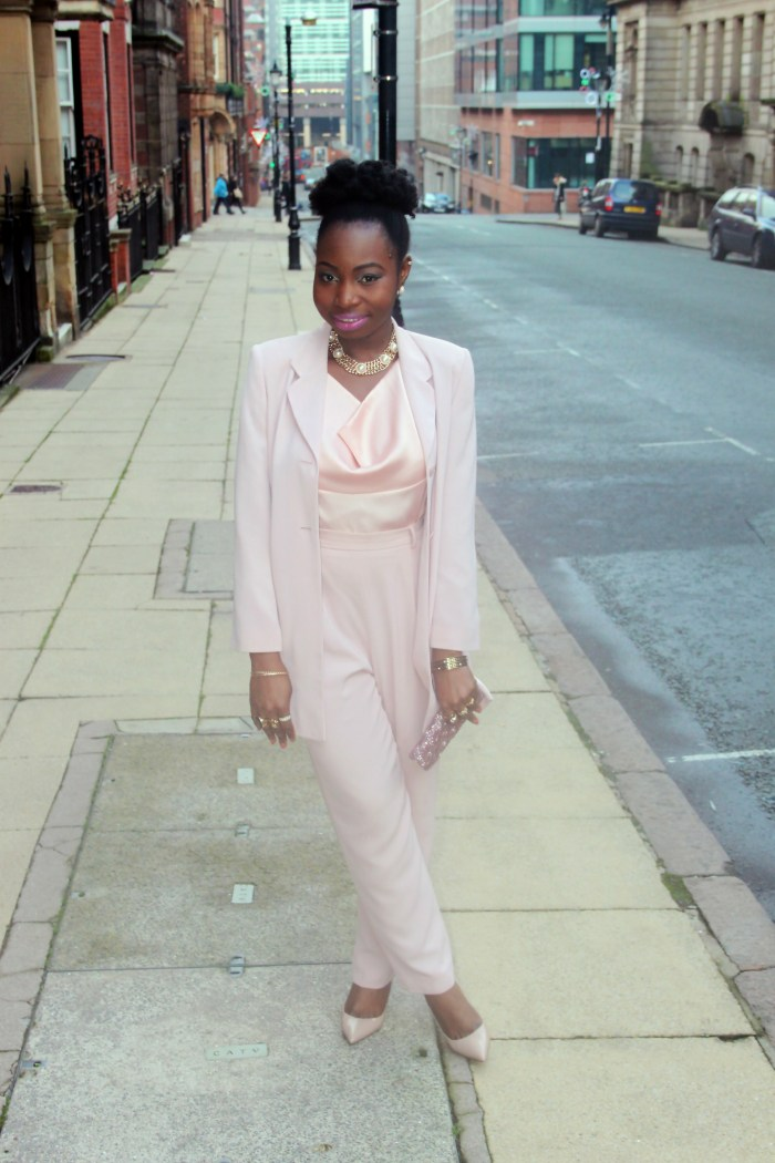 blush pink nude trouser suit 2B