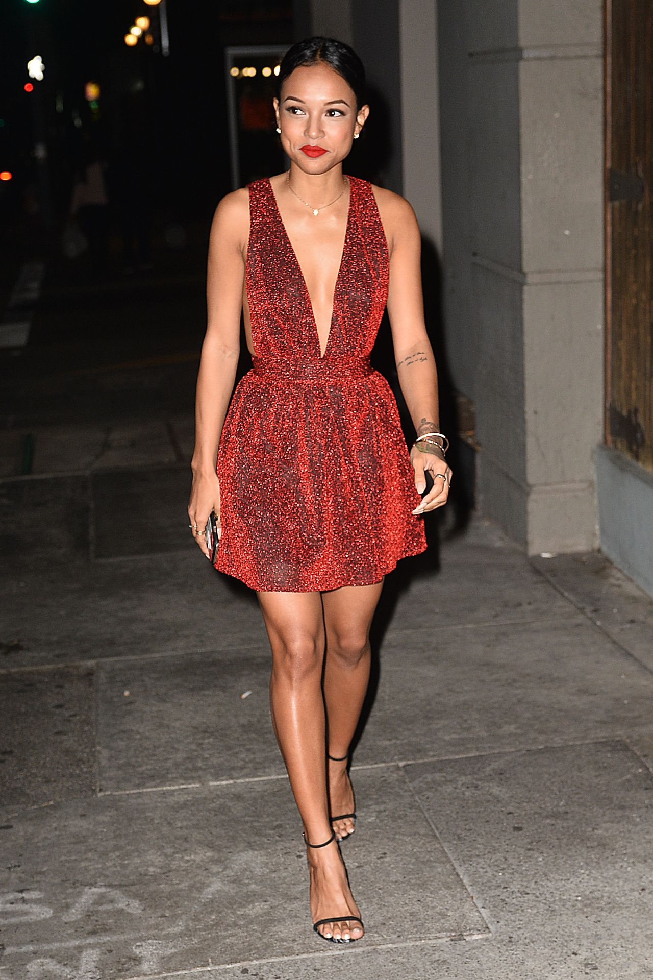 46ccbf5ec6f9 Karrueche Tran in Nasty Gal Red Alert Metallic Shimmer Dress ...